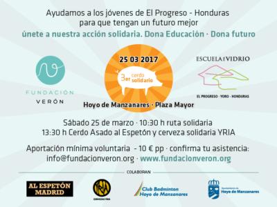 Solidarity pig in Hoyo de Manzanares. Verón e Yria Foundation